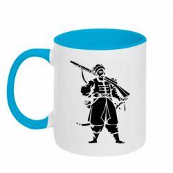 Кружка двухцветная 320ml Cossack with a gun