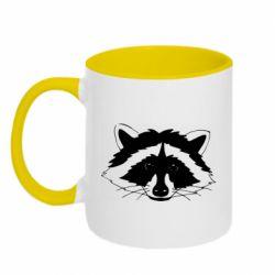Кружка двоколірна 320ml Cute raccoon face