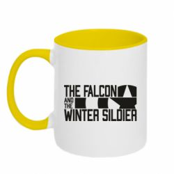 Кружка двоколірна 320ml Falcon and winter soldier logo