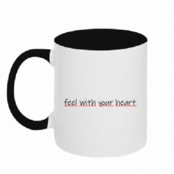 Кружка двоколірна 320ml feel with your heart