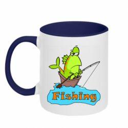Кружка двухцветная 320ml Fish Fishing