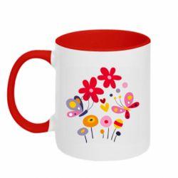 Кружка двухцветная 320ml Flowers and Butterflies