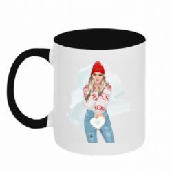 Кружка двухцветная 320ml Girl in a red sweater