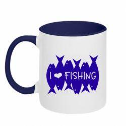 Кружка двоколірна 320ml I Love Fishing