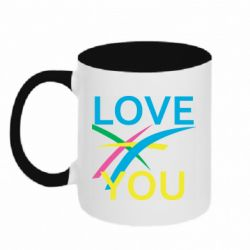 Кружка двоколірна 320ml Love You Abstract Lines