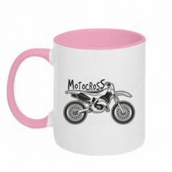 Кружка двоколірна 320ml Motocross text and motorcycle