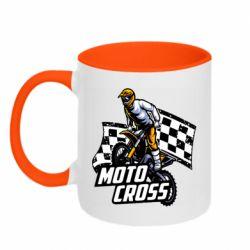 Кружка двухцветная 320ml Motocross