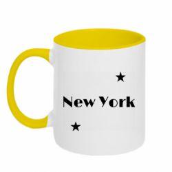 Кружка двухцветная 320ml New York and stars