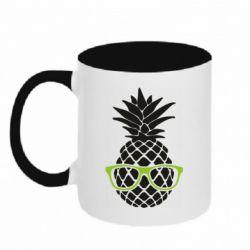 Кружка двухцветная 320ml Pineapple with glasses