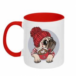 Кружка двоколірна 320ml Pug And Coffee