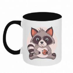 Кружка двоколірна 320ml Raccoon with cookies
