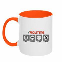Кружка двоколірна 320ml Routine code