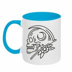 Кружка двоколірна 320ml Skull with scythe