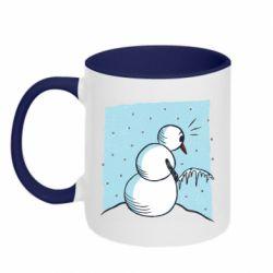 Кружка двоколірна 320ml Snowman. It's Cold!