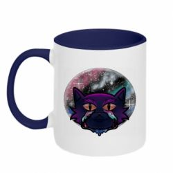 Кружка двухцветная 320ml The cat is crying against the backdrop of space