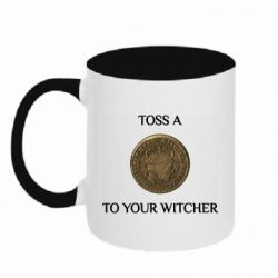 Кружка двоколірна 320ml Toss a coin to your witcher ( орен )