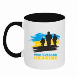 Кружка двоколірна 320ml War veteran оf Ukraine