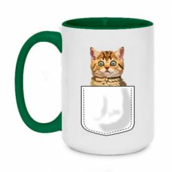 Кружка двухцветная 420ml Cat in your pocket