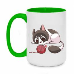 Кружка двоколірна 420ml Cat with a ball