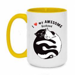 Кружка двухцветная 420ml Cats and love