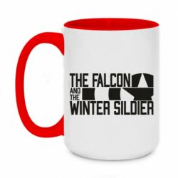 Кружка двоколірна 420ml Falcon and winter soldier logo
