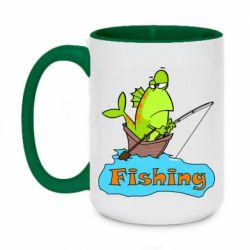 Кружка двухцветная 420ml Fish Fishing