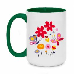 Кружка двухцветная 420ml Flowers and Butterflies