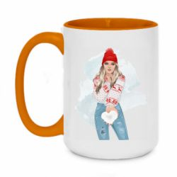 Кружка двухцветная 420ml Girl in a red sweater