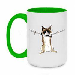 Кружка двухцветная 420ml Grumpy Cat On The Rope