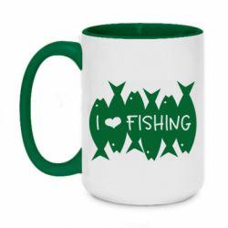 Кружка двоколірна 420ml I Love Fishing