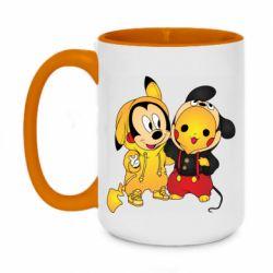 Кружка двухцветная 420ml Mickey and Pikachu