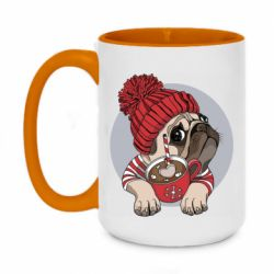 Кружка двоколірна 420ml Pug And Coffee