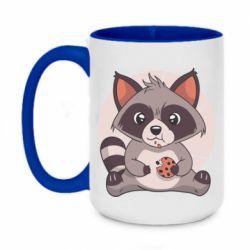 Кружка двоколірна 420ml Raccoon with cookies
