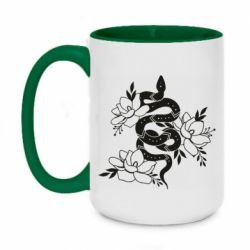 Кружка двоколірна 420ml Snake with flowers