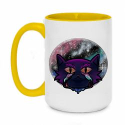 Кружка двухцветная 420ml The cat is crying against the backdrop of space