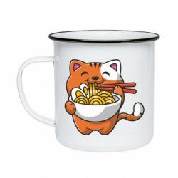 Кружка емальована Cat and Ramen