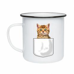 Кружка эмалированная Cat in your pocket