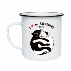 Кружка эмалированная Cats with a smile