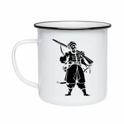 Кружка эмалированная Cossack with a gun