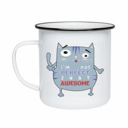 Кружка эмалированная Cute cat and text
