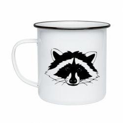 Кружка емальована Cute raccoon face