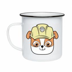 Кружка емальована Dog in helmet