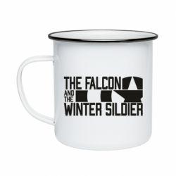 Кружка емальована Falcon and winter soldier logo