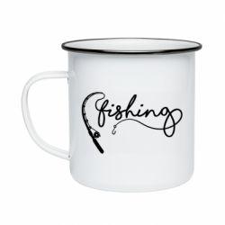 Кружка емальована Fishing and fishing rod