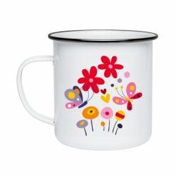 Кружка эмалированная Flowers and Butterflies
