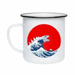Кружка емальована Godzilla Wave