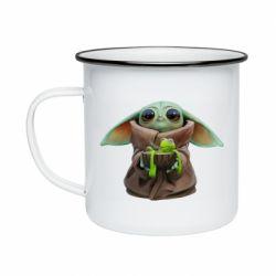 Кружка емальована Grogu and Kermit