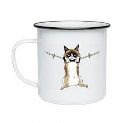 Кружка эмалированная Grumpy Cat On The Rope