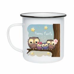 Кружка емальована Happy family