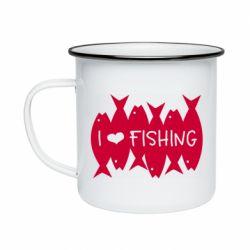 Кружка емальована I Love Fishing